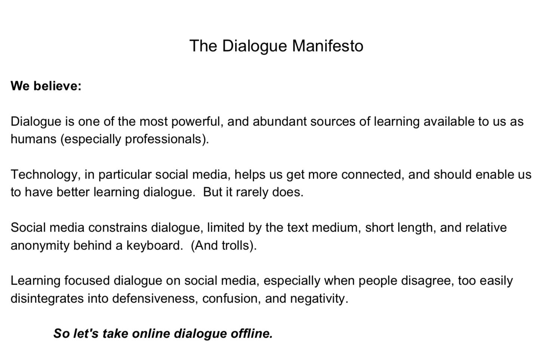The Dialogue Manifesto